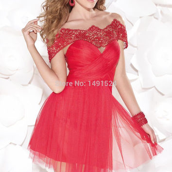 Tarik Ediz 2015 New short Dresses Cap Sleeve Backless Red Tulle Embellished Cocktail Dress