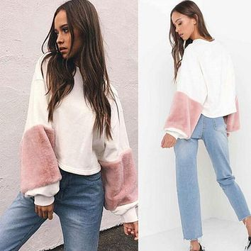 faux fur hoodies sweatshirt Casual oversize white sweatshirt women jumper fashion patchwork long sleeve pullover Blusas