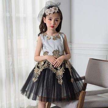 Girls Prom Dress Baby Gold thread embroidery Princess Dresses Children Sleeveless Mesh Party Wedding Gown Carnival Costume
