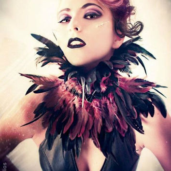 Trashglam Gothic STEAMPUNK couture coque feathered neck CORSET choker COLLAR