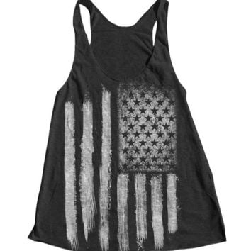 AMERICAN FLAG Women Tank Top American Apparel Triblend Racerback Tank Top Hand Screen Printed