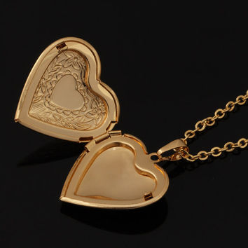 18K Real Gold/Platinum Plated  Heart Locket Necklace