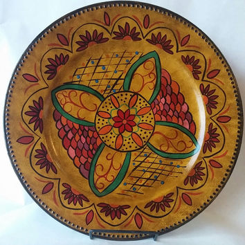Decorative plate, decorative platter, hand painted plate, tuscan style plate, antique style platter, colorful plate, morracan decor