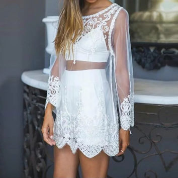 Sexy Women Floral Embroidery Blouse 2017 Ladies Mesh Sheer See Through Lace Crochet Long Sleeve Dress Shirts Beachwear