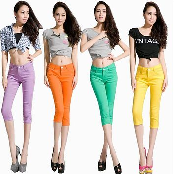 women fashion candy colors slim elastic pencil pants capris jean free shipping High quality