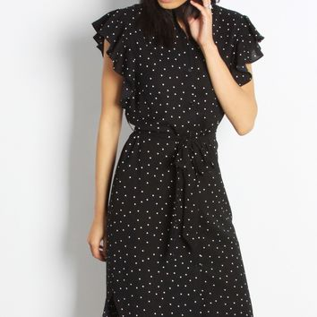 Black Ruffle Polka Dot Midi Dress
