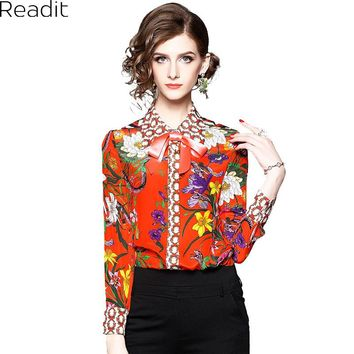 Readit Silk Blouse 2018 Spring Woman Shirt Blouse Collar Ribbon Bow Colorful Floral Printed Silk Shirt Vintage Red Blouse B2773