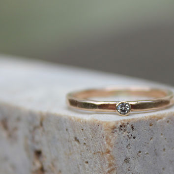 Moissanite and Gold Engagement Ring