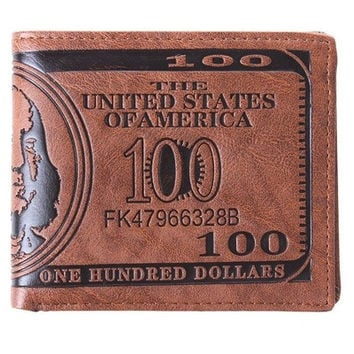 1PCS Men US Dollar Bill Wallet PU Dollar Wallet