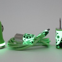 Glow in the Dark iPhone Charger - Paisley print - wall and car charger compatible with iPhone 5