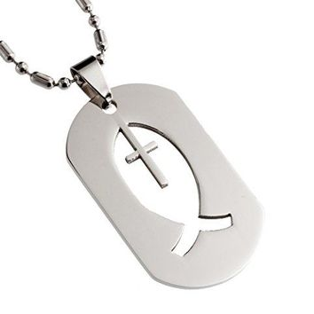 R.H. Jewelry Stainless Steel Pendant, Christian Fish and Cross Dog Tag