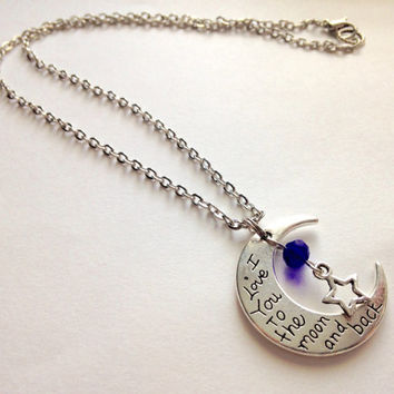 Blue Crystal Moon Necklace,Moon Necklace,I Love You To Moon Necklace,Necklace,Fashion Jewelry,Gift Idea,For Her