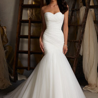 Blu by Mori Lee 5108 Simple Mermaid Wedding Dress. White 6 In Stock.