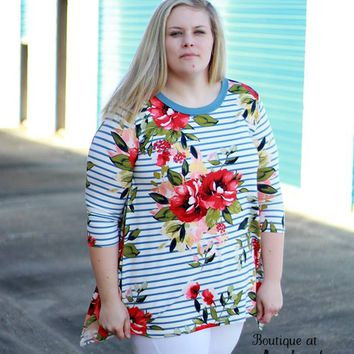 Plus Size Blue Stripe Tunic with Asymmetrical Hem with Bold Floral Print