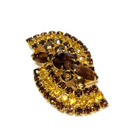 Rhinestone Topaz Brooch, Topaz & Rootbeer Spiral Brooch, Shades of Honey, Fall Colors,1960s, Statement Pave Vintage Jewelry
