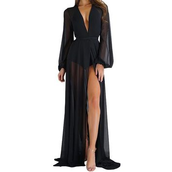 Cover ups Bikini Cover Up women hot solid loose long tops long sleeve summer see through bandage Bathing  Sleeping Nightgown KO_13_1