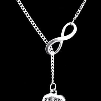 Sisters Tag Sister Mother's Day Gift Infinity Lariat Necklace