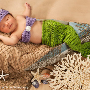 New Color Combo/Baby mermaid photo prop/Crochet Mermaid Prop/Newborn Photo Prop/Nautical Theme- Newborn- 4 piece set-Made to order