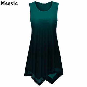 Summer 2017 Handkerchief Hem Line Women Sleeveless Tunic Top O-Neck Tie-Dye Knitting Asymmetric Long Tops  Women Gradient Shirt