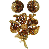 Vintage Trifari Madeira Topaz Rhinestone Flower Brooch Earrings Rare Book