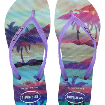 Havaiana Slim Paisage in Ice Blue- Size 6