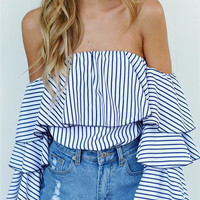 Fashion Stripe Off Shoulder Shirt Frills Pagoda Sleeve Tops