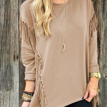 Loose Long Sleeve Shirt With Fringed