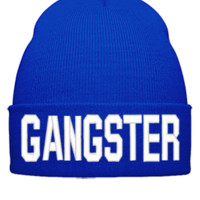 GANGSTER EMBROIDERY HAT - Beanie Cuffed Knit Cap