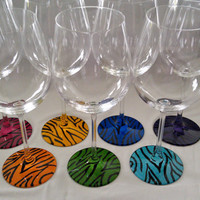 Zebra painted wine glass by BrookeLHC on Etsy
