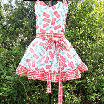 Full Bib Apron,  Blue, White, and red, ruffled, sweetheart bib, Pin-up girl, gift, women's,