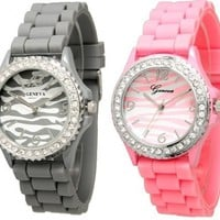 Grey & Pink Zebra Silicone Watch w/ Crystal Rhinestones Bezel Ceramic Look
