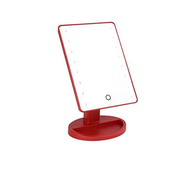 LUXEBEAUTY Red Vanity Lighted Makeup Table Mirror 16 LED Lights - NEW Dimmable Feature - Rotating with a Touchscreen OFF/ON Feature - Cordless, Portable Travel Convenience - Red