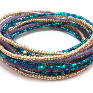 Seed bead wrap stretch bracelets, stacking, beaded, boho anklet, bohemian, stretchy stackable multi strand, gold purple blue teal