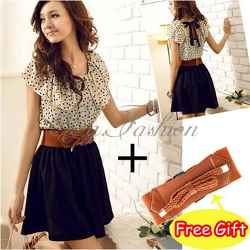 Korean Women Summer New Fashion Short-sleeve Dots Polka Waist Dress with belt = 1932581508