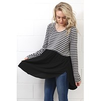Stripes + Solid Color Block Tunic {Charcoal/Black} - Size SMALL