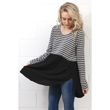 Stripes + Solid Color Block Tunic {Charcoal/Black}