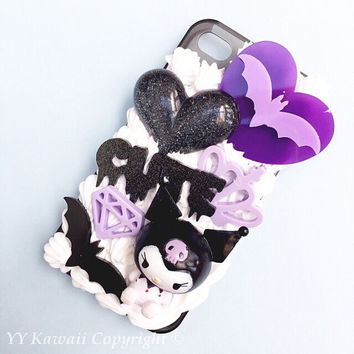 Custom Spooky Kuromi Decoden Phone Case for iPhone 4/4s 5 6 6 plus, Galaxy S4 S5 and more