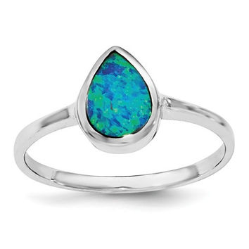 Sterling Silver Teardrop Pear Bezeled Blue Opal Inlay Ring