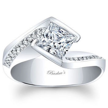 Barkev's Split Cathedral Shank Princess Cut Diamond Engagement Ring