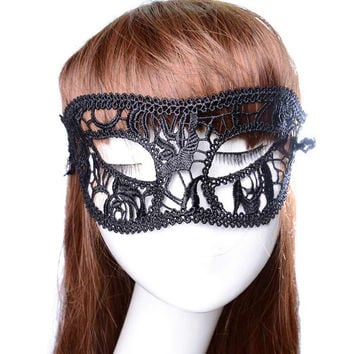 3PC Festive Supplies Sexy Mask Black Fancy Dress Lace Mask Masquerade Halloween Mask Mesh Floral Costume Female Masks Party