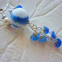 Sea Glass Necklace - Blue Cluster Marble Beach Seaglass Pendant
