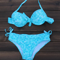 Women Swimsuit Retro Starfish Hippocampus  Bandage Bikinis Bathing Suit