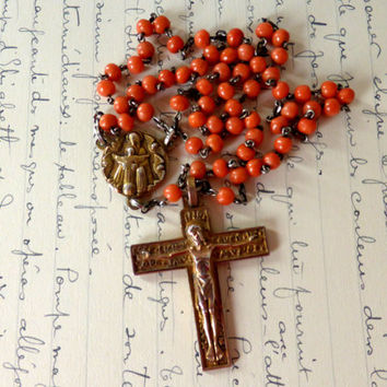 Antique French, Art Deco, Coral Rosary, Fernand PY