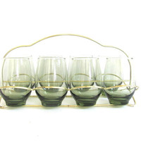 set of 8 glass drinking glasses w Carrying Caddy