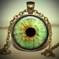 Green Eye Ball Pendant - Eye Necklace - Eye Ball Jewelry