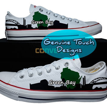 Hand Painted Converse, Green Bay, Skyline, Wisconsin, Custom converse, Birthday Gifts, Christmas Gifts, Art work shoes