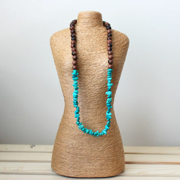 Turquoise Chip Necklace. Turquoise Magnesite Necklace. Boho Necklace. Gemstone Necklace. Zen Necklace. Gifts for her. Wooden Necklace.