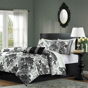 Queen Size 7 Piece Damask Comforter Set In Black White Grey
