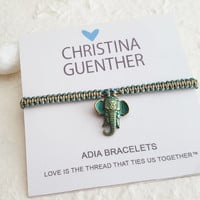 ADIA Bracelets - Macrame Elephant Friendship Bracelet, Hand crafted Bracelet, Adjustable Size, Handmade USA Christina Guenther