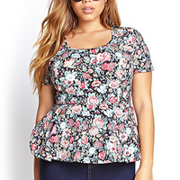 FOREVER 21 PLUS Tropical Floral Peplum Top Black/Light Pink